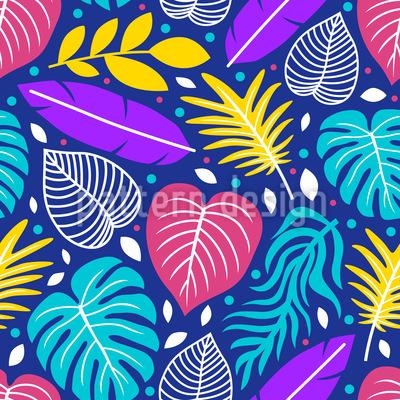 Variación de hojas coloridas Estampado Vectorial Sin Costura