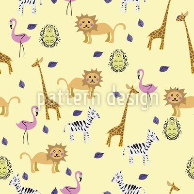 Cute African Animals Seamless Vector Pattern Design