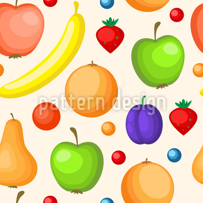 Farbenfrohe Obst-Variation Nahtloses Vektormuster