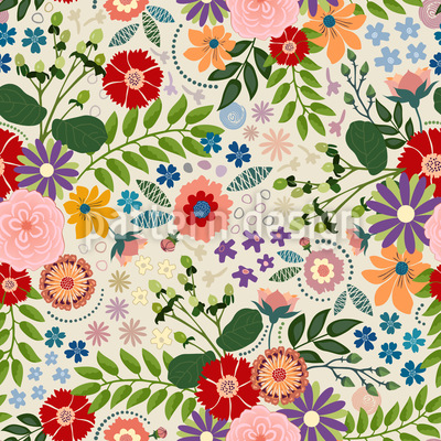 Traditional Flower Seamless Vector Pattern Design