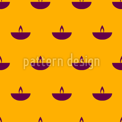 Stylized Oil Lamp Seamless Vector Pattern Design