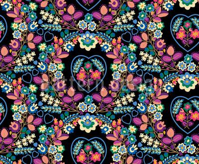 Glorios Floral Blau Nahtloses Muster