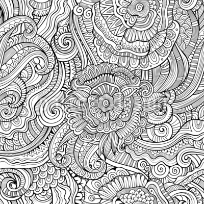 Monochrome Fantasy Garden Seamless Vector Pattern Design