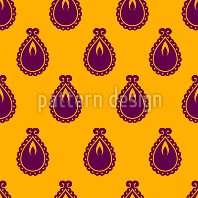 Stylized Diya Seamless Vector Pattern Design