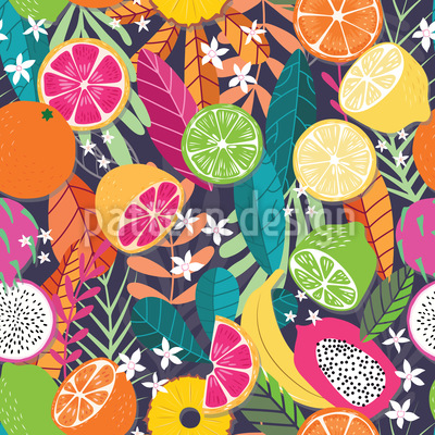 Tropical Fruit Variation Seamless Vector Pattern Design