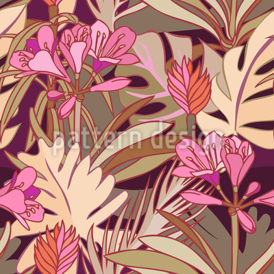 Warme Dschungelpflanzen Nahtloses Vektormuster