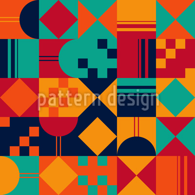 Warm Geometric Composition Seamless Vector Pattern Design
