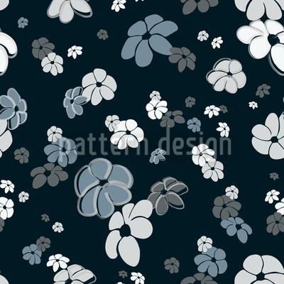 Blumenregen In Blau Nahtloses Vektormuster