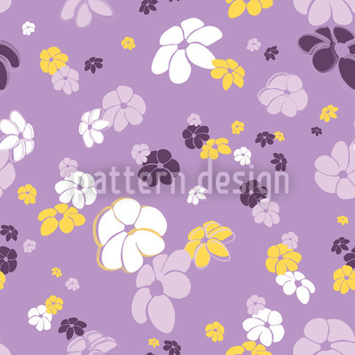 Lilac Flower Rain Seamless Vector Pattern Design