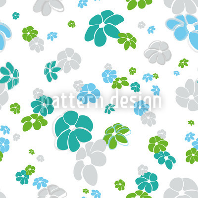 White Flower Rain Seamless Vector Pattern Design