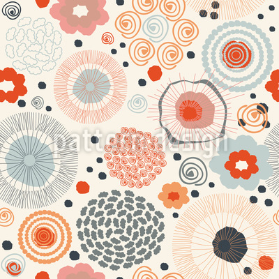 Хиппи Сканди Цветочный микс Бесшовный дизайн векторных узоров