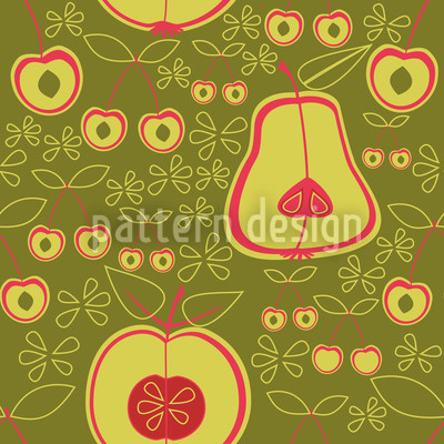 Fruit Garden Green Seamless Vector Pattern Design
