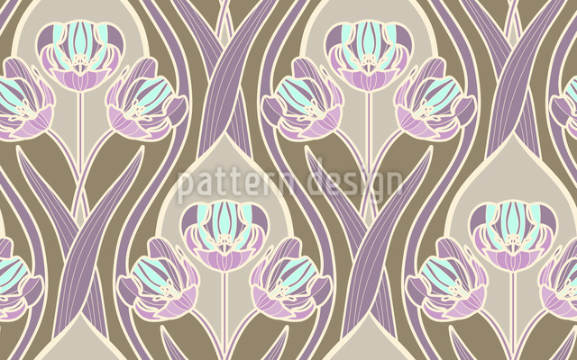 Romantic Vintage Tulips Seamless Vector Pattern Design