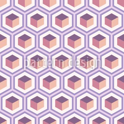 Retro-Würfel In Einem Geometrischen Gitter Nahtloses Vektormuster