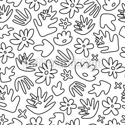 Tropische Blumen-Konturen Nahtloses Vektormuster