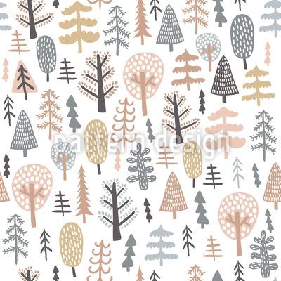 Árvore escandinava Design de padrão vetorial sem costura
