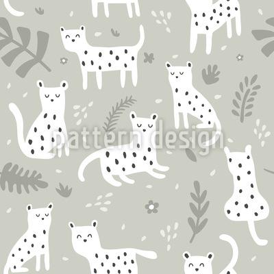 Cute Little Leopards Seamless Vector Pattern Design