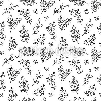 Doodle de galho Design de padrão vetorial sem costura