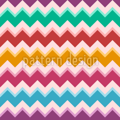 Linhas coloridas em ziguezague Design de padrão vetorial sem costura