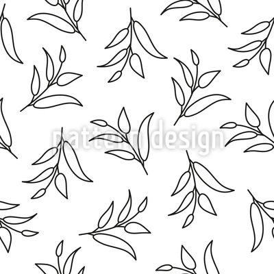 Leaf Outlines Seamless Vector Pattern Design