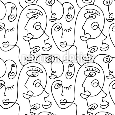 Face Line Seamless Vector Pattern Design