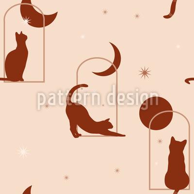 Katzen Im Mondlicht Nahtloses Vektormuster