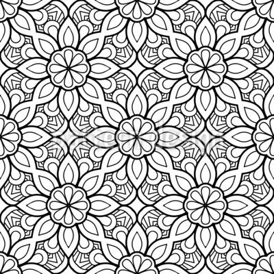 Florales Ausmal-Mandala Nahtloses Vektormuster