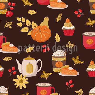 Autumnal Pumpkin Breakfast Seamless Vector Pattern Design