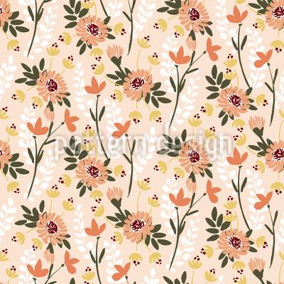 Wildblumen Sammlung Nahtloses Vektormuster