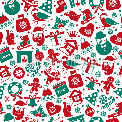Christmas Party Elements Seamless Vector Pattern Design