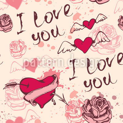 Vintage Valentines Day Seamless Vector Pattern Design