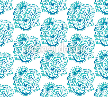 Water Godess Paisley Seamless Vector Pattern Design