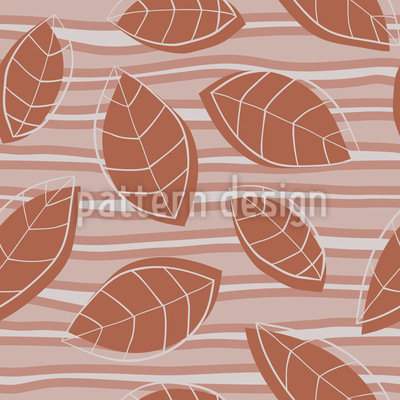 Tropical Leaves On Stripes Seamless Vector Pattern Design