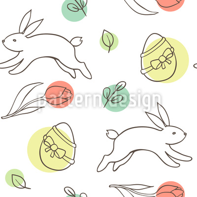 Easter Bunnies And Eggs Seamless Vector Pattern Design