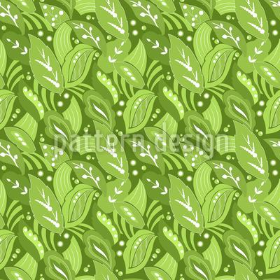 Oriental Leaves Seamless Vector Pattern Design