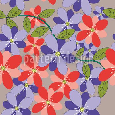 Blüten Und Blätter Grau Rapportmuster