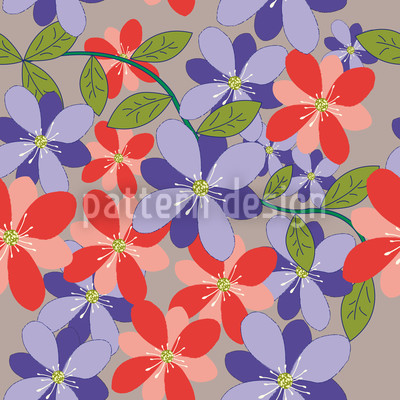 Flower Petals Grey Repeat Pattern
