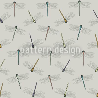Flug Der Libelle Color Nahtloses Muster