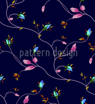 Rose Tendrils Night Pattern Design