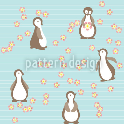 Pinguin Blüte Muster Design