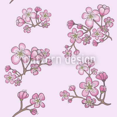 Apricot Blossoms Seamless Vector Pattern Design