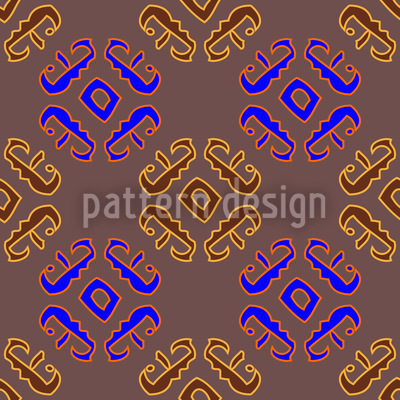 Ethno Signs Brown Repeat Pattern