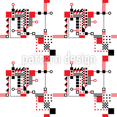 Red And Black Construction Seamless Pattern