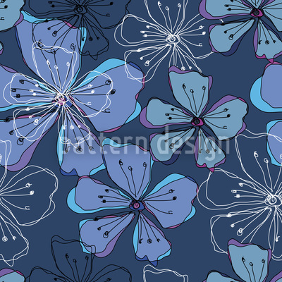Lovely Blossoms Seamless Vector Pattern Design