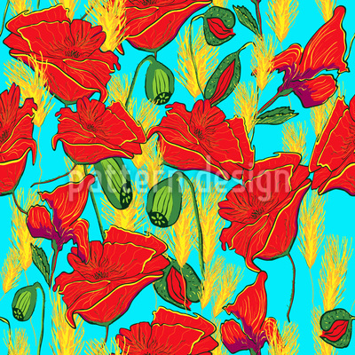 Papaveri disegni vettoriali senza cuciture