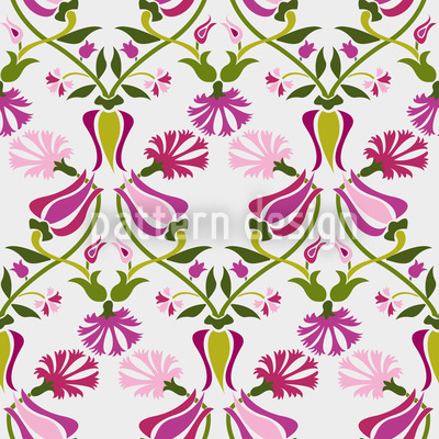 Tulips And Carnations Pink Seamless Pattern