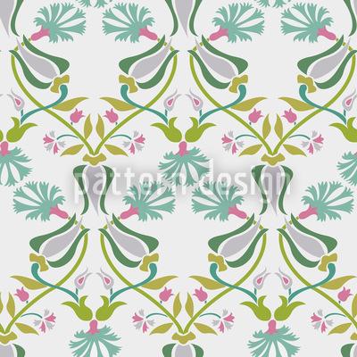 Tulpen Und Nelken Geflecht Nahtloses Vektormuster