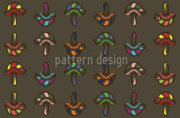 きのこ楽しい シームレスなベクトルパターン設計