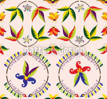 Vintage Flower Seamless Vector Pattern Design