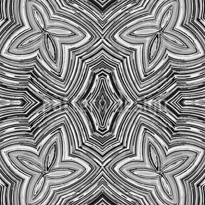 Crayon Flowers BW Pattern Design